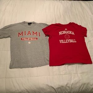 Lot of 2 Volleyball T-shirts Miami and Nebraska